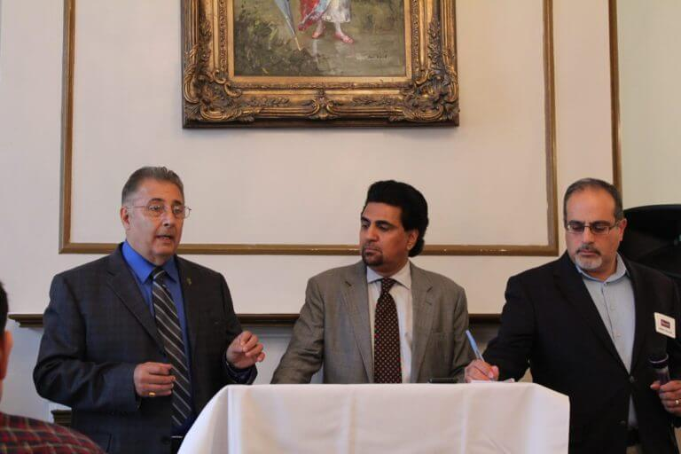 AMVOTE head Bill Hadded joins AMT PAC members Salman Aftab and Abder Ghouleh at a governor's candidates forum hosted by the American Muslim Task Force PAC Sept. 16, 2017 at Reza's restaurant in Oak Brook featuring candidate Christopher Kennedy. Photo courtesy of Ray Hanania