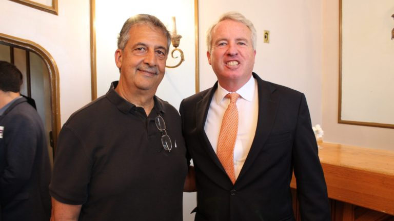 The author Ray Hanania with Christopher Kennedy, the son of the late U.S. Senator Robert F. Kennedy, at a governor's candidates forum Sept. 16, 2017 at Reza's restaurant in Oak Brook hosted by the American Muslim Task Force PAC. Photo courtesy of Ray Hanania