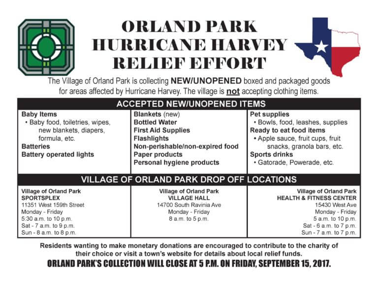 Orland Park Announces Hurricane Harvey Relief Effort
