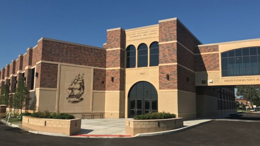 The ribbon-cutting ceremony will be held on Aug. 18 for the new performing arts center at Argo Community High School in Summit. The new center was made possible thanks in part to a $1 million donation from alumni Richard and Sharon Portillo. (Photo by Steve Metsch)