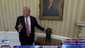 President Trump pushing back against media lies that he removed the MLK bust from the White House. Photo courtesy of the Republican Party.