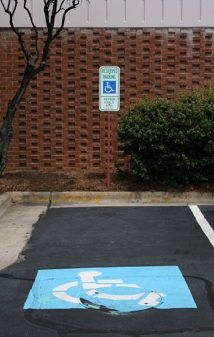 Handicapped Parking spaces. Are they being abused by senior citizens and elderly who are healthy but want the privilege of parking near the door?(Photo credit: Wikipedia)