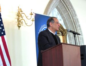 Arab American Institute President Jim Zogby addresses the Arab American Democratic Club brunch March 19, 2017. Photo courtesy of Steve Neuhaus