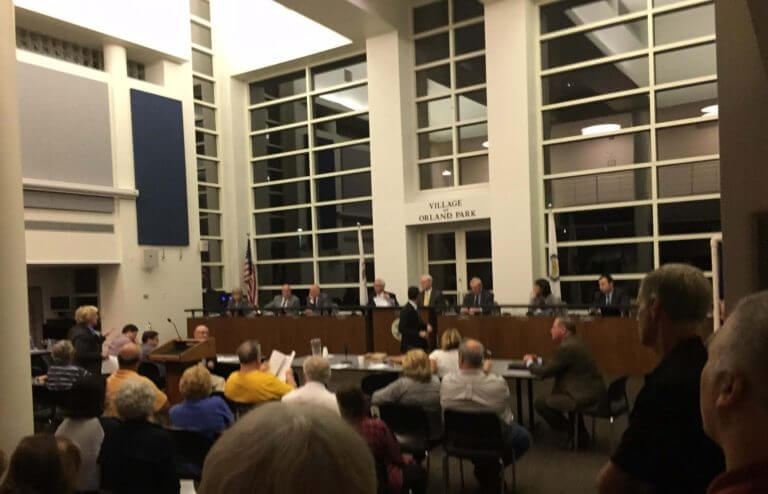 About 100 Residents of Orland Park filled the board meeting room Monday Oct. 17, 2016 to protest increasing Mayor Dan McLaughlin