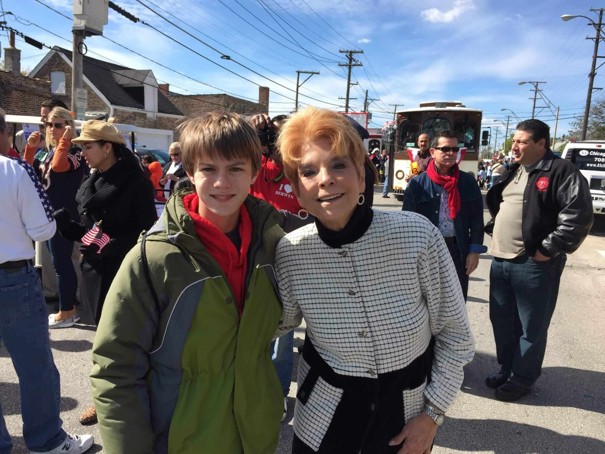 Judy Baar Topinka poses with my son Aaron in October 2014