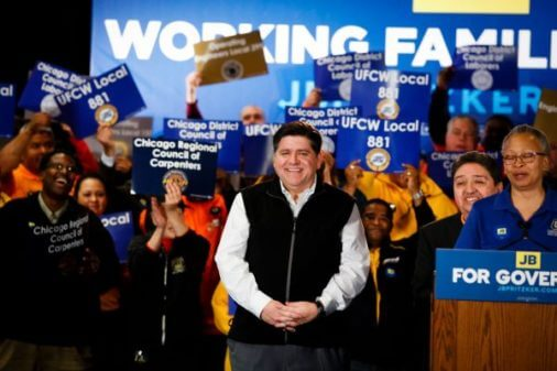 J.B. Pritzker from his campaign Facebook Page at UFCW union endorsement.