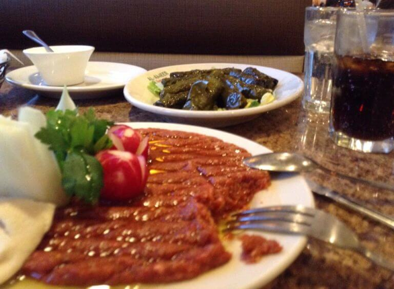 Kibbeh Nayeh and Grape leaves