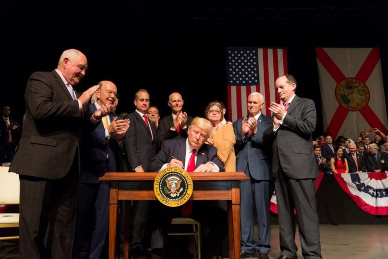 President Trump signs an Executive Order toughening sanctions on Cuba. June 16, 2017. Photo courtesy of the White House
