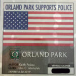 2017-2018 Village of Orland Park sticker showing support for Police that has been criticized by extremists who blame all police for the crimes committed by a few.