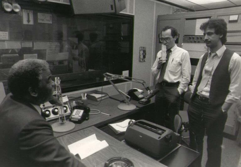 Harold Washington in a radio studio at WLUP with host Ray Hanania (far right) and Tribune reporter Thom Shanker (center). Photo courtesy of Ray Hanania