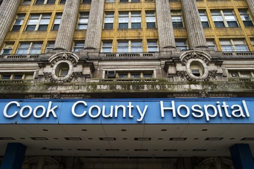 "Cook County ""Stroger"" Hospital isn't located in the suburbs because the focus of services is on Chicago. (Photo credit: Wikipedia)"