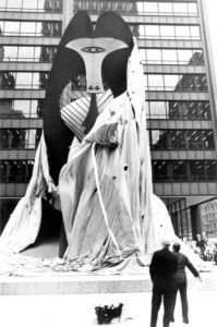 The unveiling of the Picasso sculpture in Chicago August 15, 1967. The Chicago Picasso (often just The Picasso) is an untitled monumental sculpture by Pablo Picasso in Chicago, Illinois. The sculpture, dedicated on August 15, 1967, in Daley Plaza in the Chicago Loop, is 50 feet (15.2 m) tall and weighs 162 short tons (147 t)