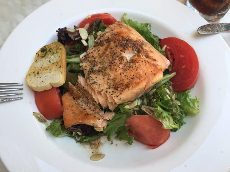 Salmon Salad at Street view from Meli Cafe at 500 S. Dearborn Street. Photo courtesy Ray Hanania