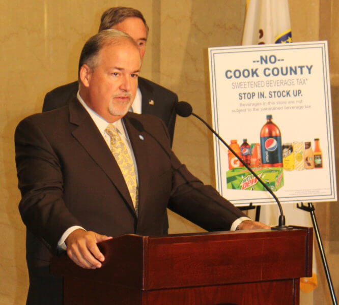 Cook County Commissioner Sean Morrison leads coalition to repeal repressive Preckwinkle tax on sweetened drinks and soda pop Aug. 9, 2017. Photo courtesy of Commissioner Sean Morrison