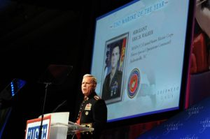 WASHINGTON (Oct. 7, 2010) Assistant Commandant of the Marine Corps Gen. James Amos introduces Sgt. Eric B. Walker as the USO Marine of the Year at the 2010 USO Gala. (U.S. Navy photo by Mass Communication Specialist 1st Class Jennifer A. Villalovos/Released) (Photo credit: Wikipedia)