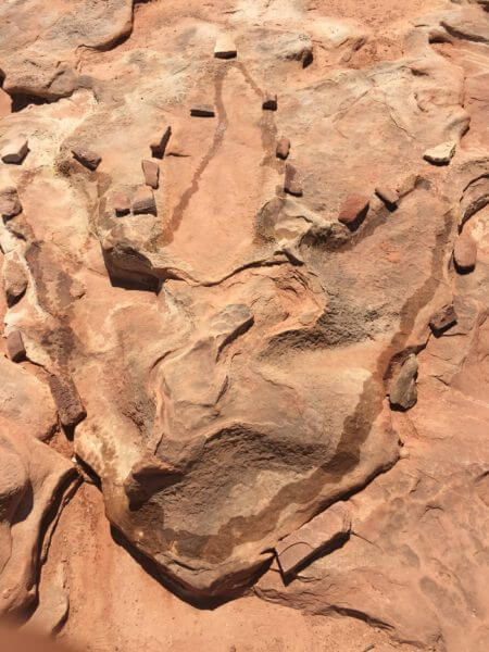 T-Rex footprint at Moenkop Dinosaur Tracks outside of Tuba City, Arizona. Photo courtesy of Ray Hanania