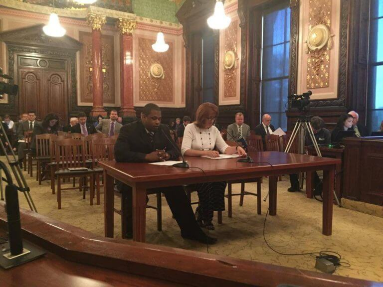Will Kyles, President of the Champaign County Black Chamber of Commerce, testifying before the Senate on the importance of Amtrak funding in Illinois.