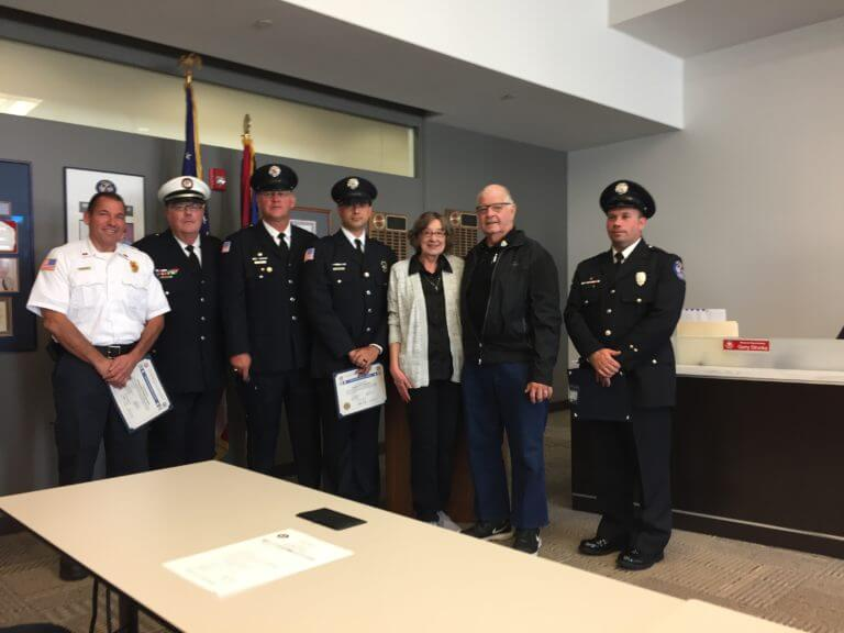 Richard Rubas (2nd from right) and his wife Barbara join members of the Orland Fire Protection District who helped save his life after a cardiac arrest incident.