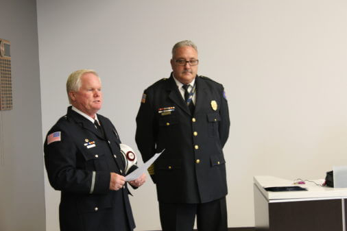 EMS Administrator Lieutenant Mark Duke and Orland Fire Protection District Fire Chief Mike Schofield. Photo courtesy of Steve Neuhaus