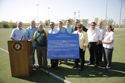 Cicero Town officials and local community leaders join Laureano Robles who was honored for his years of coaching young people in Soccer in the Town of Cicero. Photo courtesy of Gerardo Lopez and the Town of Cicero