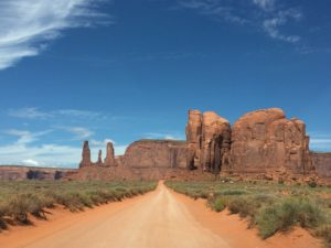 Three sisters on the left and Elephant Butte on the right in Monument Valley. Photo courtesy of Ray Hanania