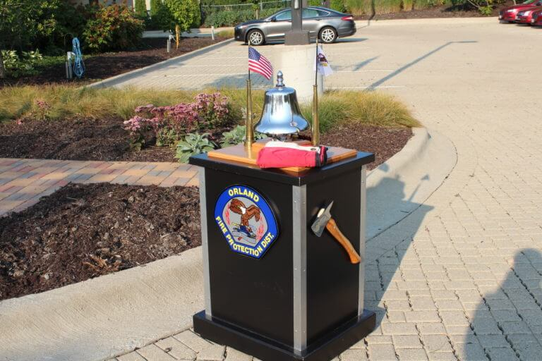 Bell used in Firefighter's Bell Ceremony at the 16th Anniversary Commemoration of the Sept. 11, 2017 terrorist attacks at the Orland Fire Protection District headquarters in Orland Park, Illinois.