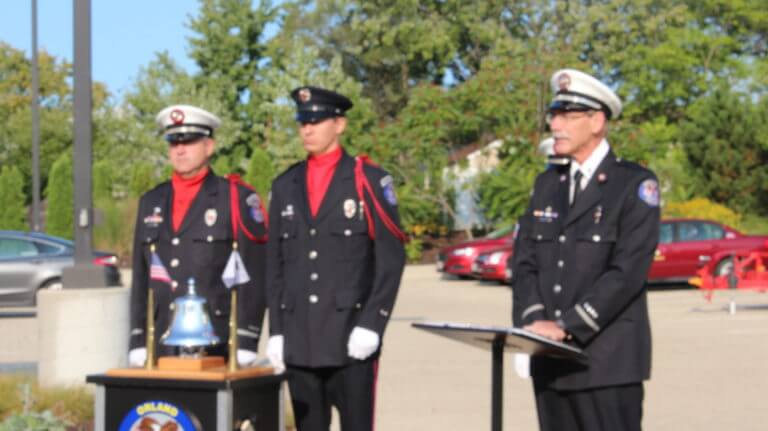 Orland Fire Chaplain Vogel at the 16th Anniversary Commemoration of the Sept. 11, 2017 terrorist attacks at the Orland Fire Protection District headquarters in Orland Park, Illinois.