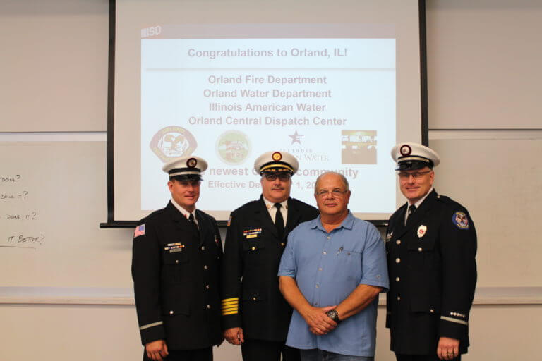 From left: Lt. David Piper, Fire Chief Michael Schofield, former Fire Chief Robert Buhs and Lt. Randy Reeder. Photo courtesy of the Orland Fire Protection District