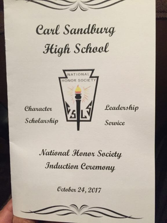 Carl Sandburg High school National Honor Society Induction Oct. 24, 2017. Program Book Cover