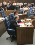 County Commissioner Sean Morrison pictured as board votes to repeal Toni Preckwinkle's soda tax Oct. 10, 2017