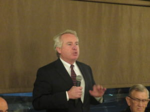 Christopher Kennedy addresses more than 150 leaders in the Arab American and Muslim community at the Arab American Democratic Club fundraiser November 8, 2017 in Worth, Illinois