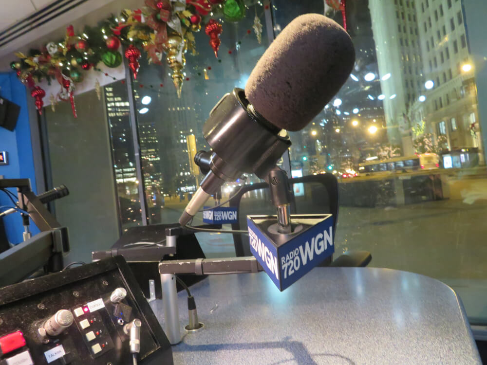 WGN AM 720 radio studio downtown on Michigan Avenue in the Chicago Tribune building. Photo courtesy Aaron Hanania