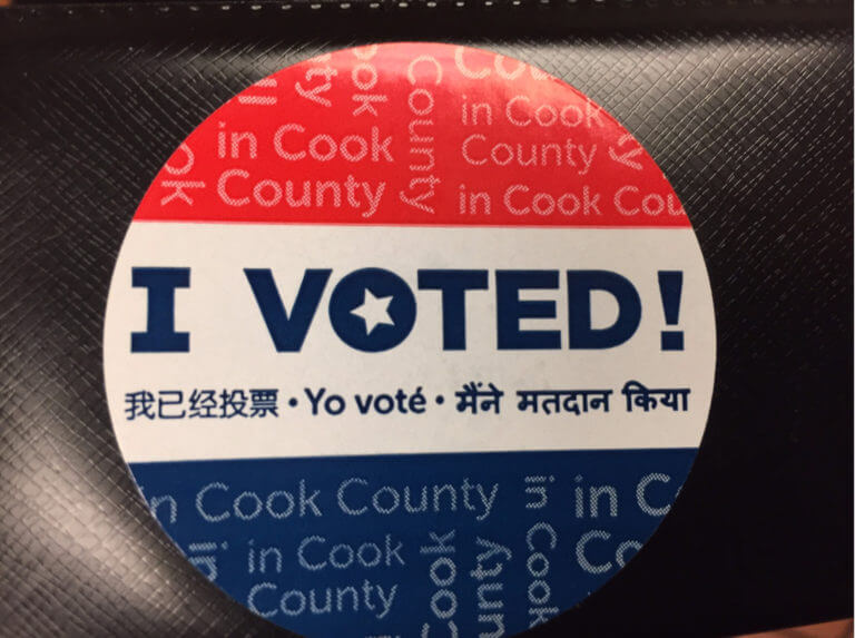Voting sticker from Chicagoland election. Photo courtesy of Ray Hanania. Vote. Election