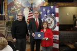 Congressman Dan Lipinski presents a Senior Volunteer Service Award to Cynthia Salvino, a special events liaison for the Town of Cicero. Photo courtesy of the Town of Cicero