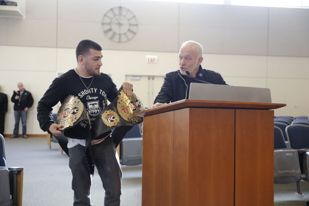 "Photo caption: From left Mixed Martial Arts Champion Jose ""Shorty"" Torres, and Combat-Do founder Master Bob Schirmer. Photo courtesy of the Town of Cicero."