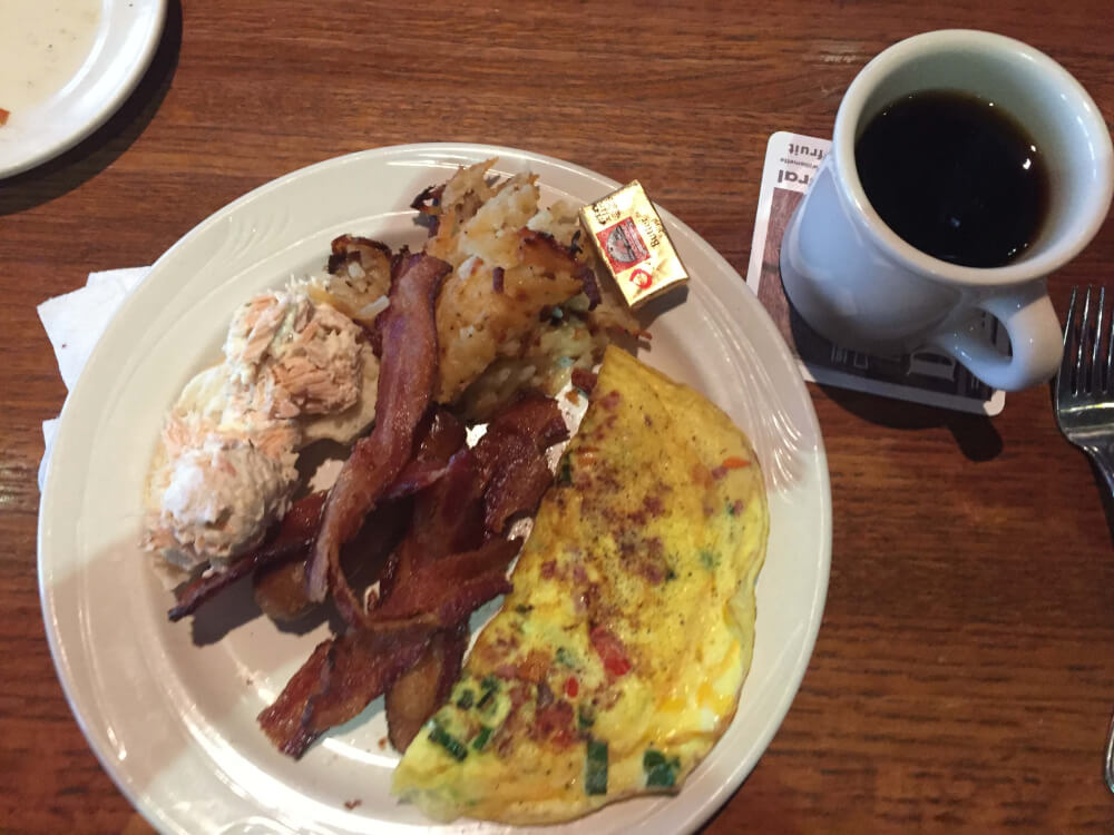 Omelette plate, bacon, salmon salad on a bagel, hash browns and coffee from Granite City. Photo courtesy of Ray Hanania