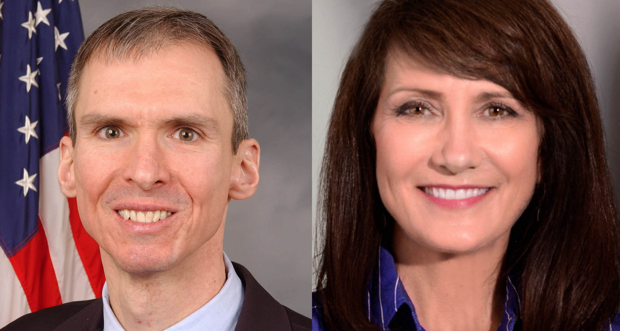 Congressman Dan Lipinski (left), Democratic challenger Marie Newman (right)