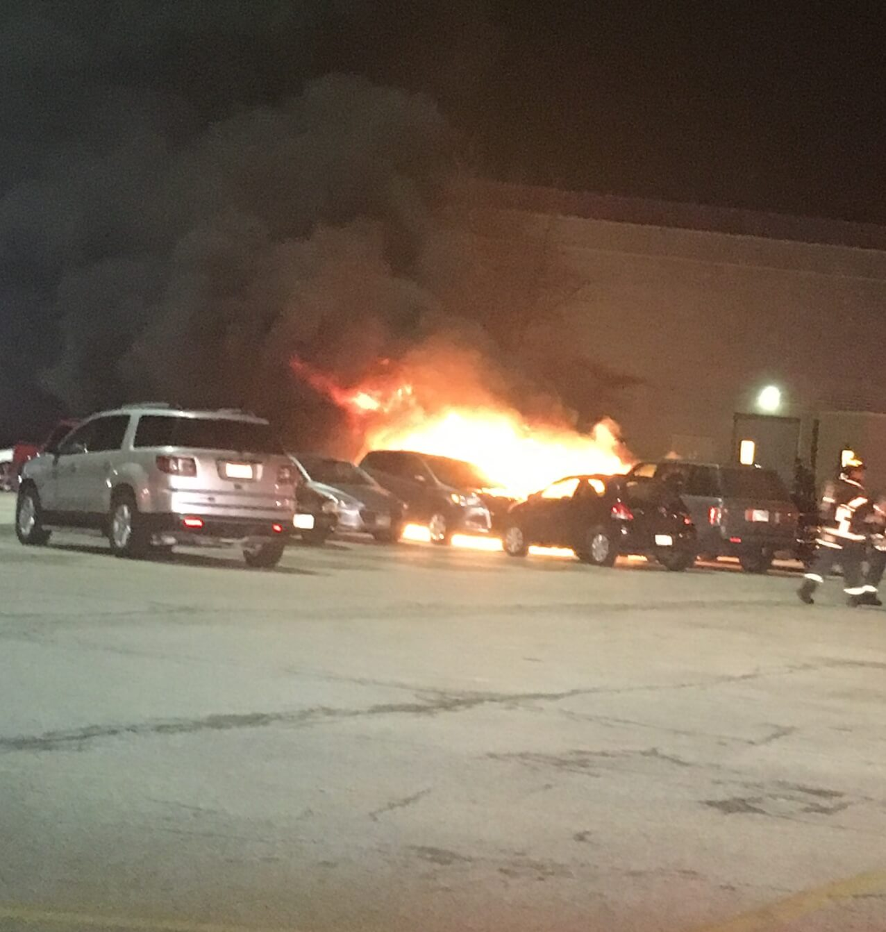 Four cars were damaged by fire in the Orland Park Mall on Thursday night Feb. 21, 2018. No one was injured. Photo courtesy of the Orland Fire Protection District