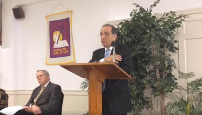 Jim Zogby, President of the Arab American Institute in Washington D.C. leads a discussion April 26, 2017 on the failure of the USCIRF to speak out against religious discrimination against Christians and Muslims in Israel.