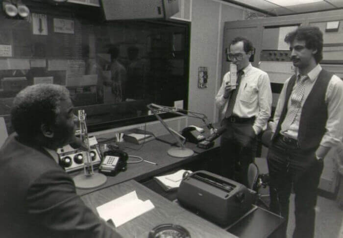 Chicago Mayor Harold Washington in the WLUP Chicago radio studio with host Ray Hanania (far right) and Tribune reporter Thom Shanker (center). Photo courtesy of Ray Hanania