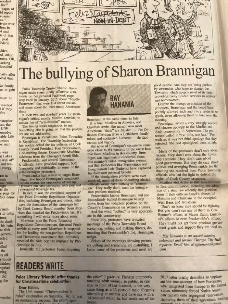 Brannigan vows to stand up to bullies, work for Township