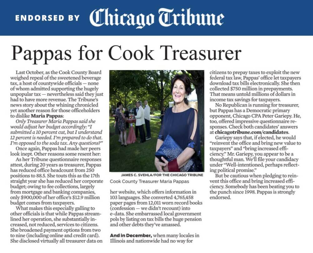 Chicago Tribune endorses Maria Pappas for re-election as Cook County Treasurer in the March 20, 2018 Democratic Primary elections