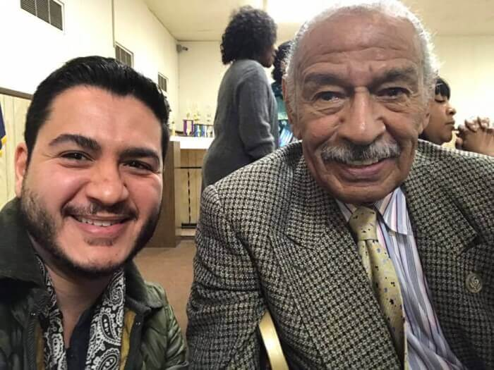Abdul El-Sayed with Congressman John Conyers. Photo courtesy of El-Sayed's Facebook Page