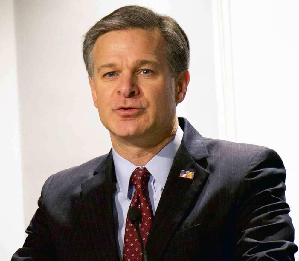FBI Director Christopher Wray, April 2018. Photo courtesy of the FBI