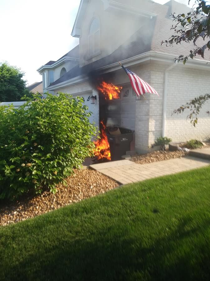 Alert neighbor reports fire in neighbor's garage saving home