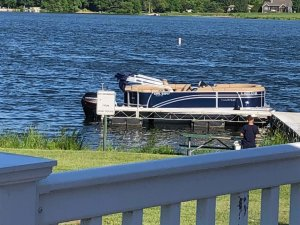 Candlewick Lake boat docked at recreation center restaurant