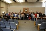 About two dozen immigrants who were sworn in as citizens this year returned to Cicero Town Hall Tuesday, June 12, 2018 to thank officials of the Town of Cicero for providing the guidance and education to help become U.S. citizens. Photo courtesy of the Town of Cicero and Gerardo Lopez.
