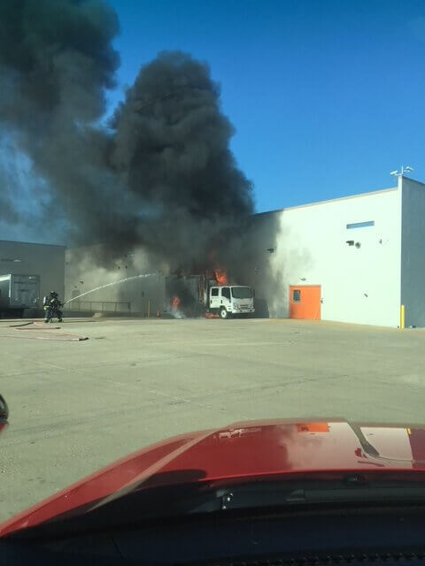 Box truck fire adjacent to the rear entrance of the Walmart Super Center store at 9265 159th Street in Orland Hills. Photo courtesy of the Orland Fire Protection District