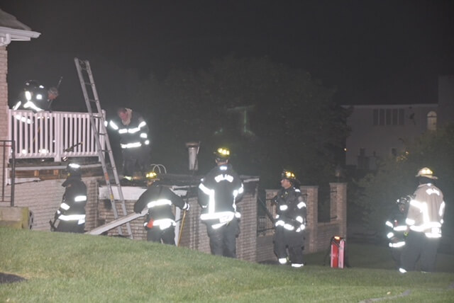 Pool deck fire in backyard of Orland Park home, August 3, 2018. Photo courtesy of the Orland Fire Protection District www.OrlandFire.org