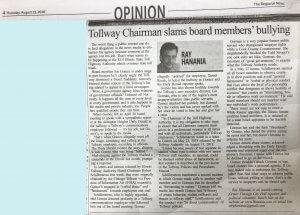 Tollway Chairman slams board members' bullying